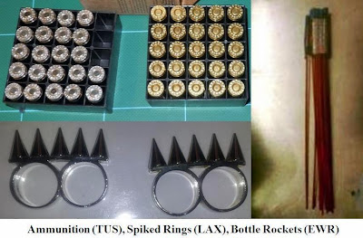 Ammunition, spiked rings, and bottle rockets. 