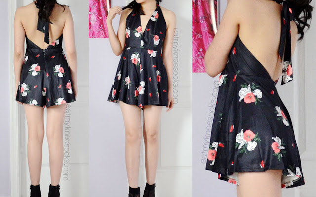 Front, side, and back views of the halterneck floral romper from SheInside, a dupe of the Free People Smooth Talker Romper.