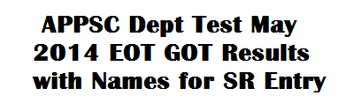 APPSC Dept Test May 2014 EOT GOT Results with Names for SR Entry