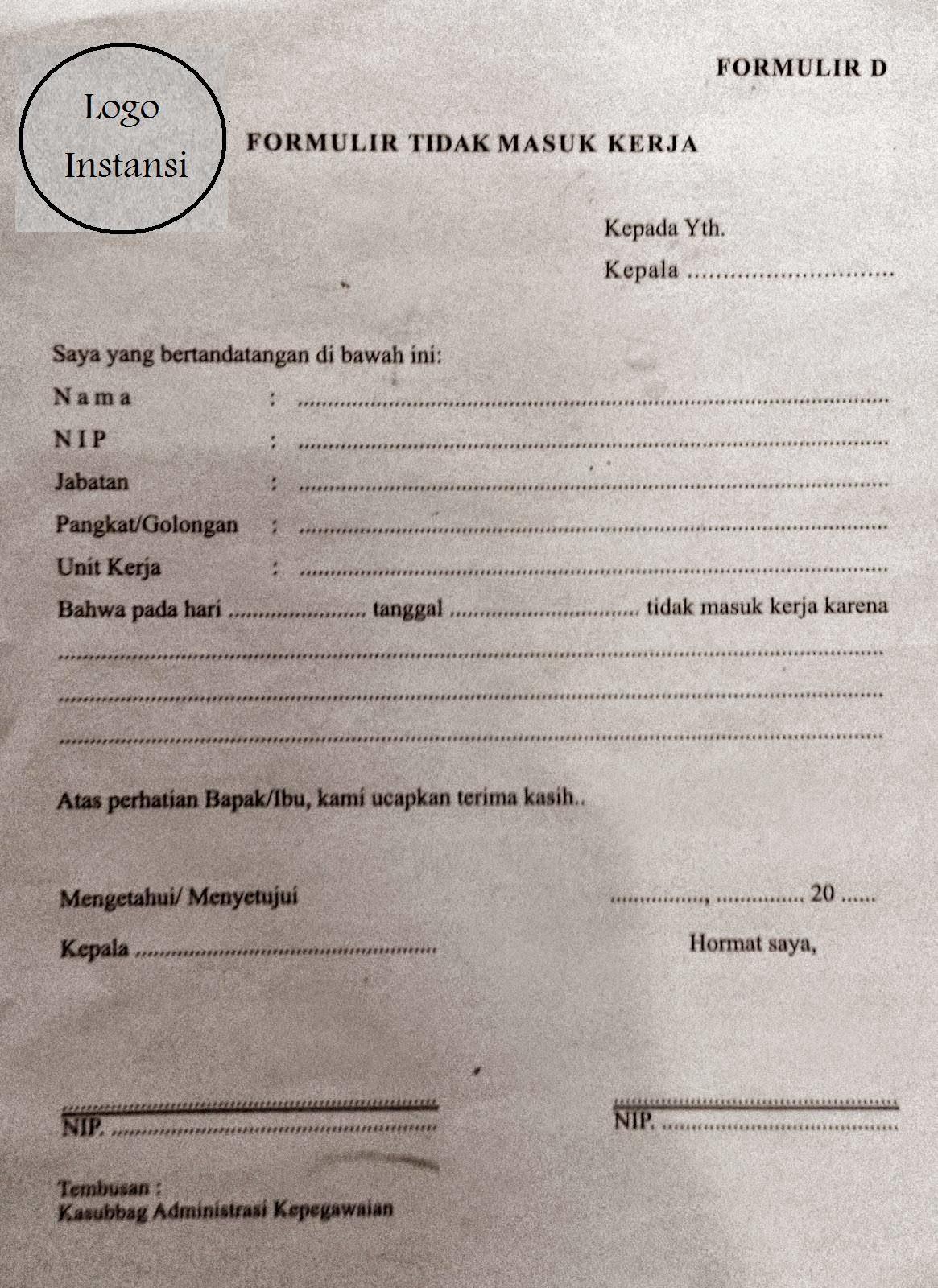 Contoh Surat / Formulir Tidak Masuk Kerja