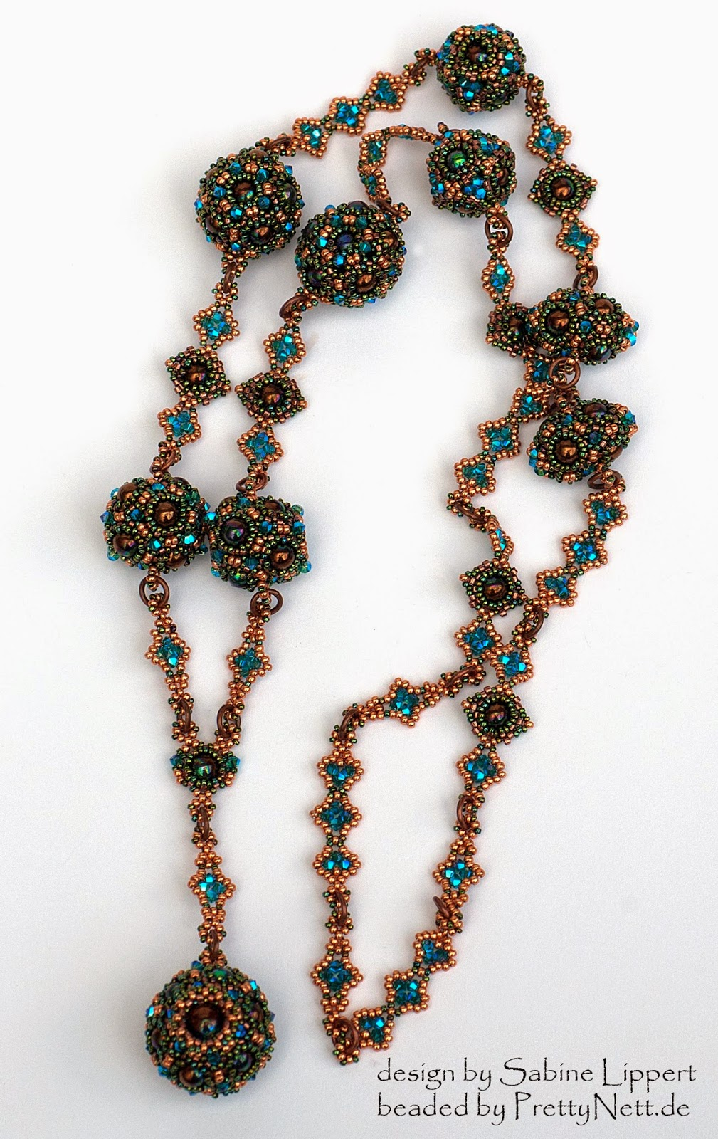 "Renaissance necklace ""Elizabeth"" beaded by PrettyNett.de"