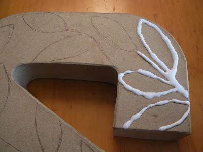 mylittlehousedesign.com diy 3d glue design paper mache initial letter