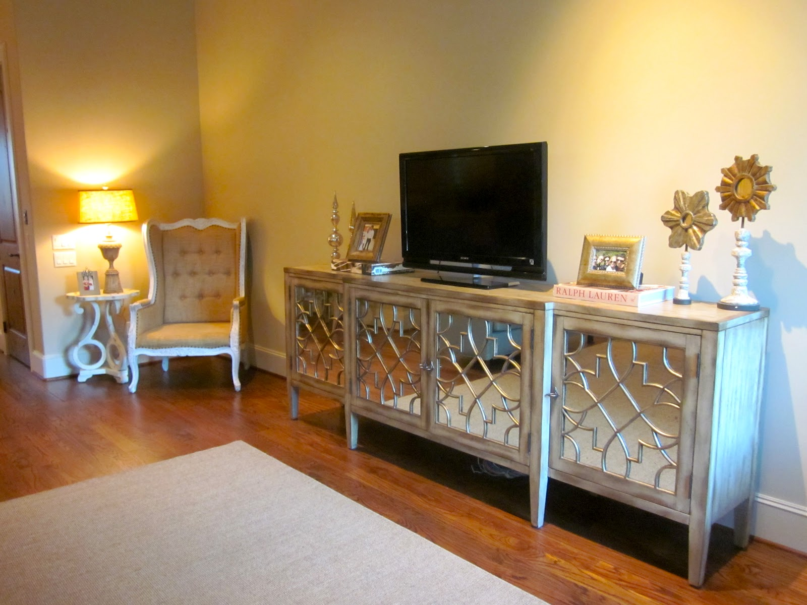 Sadie stella favorite room feature the peak of tres chic - Dresser as tv stand in living room ...