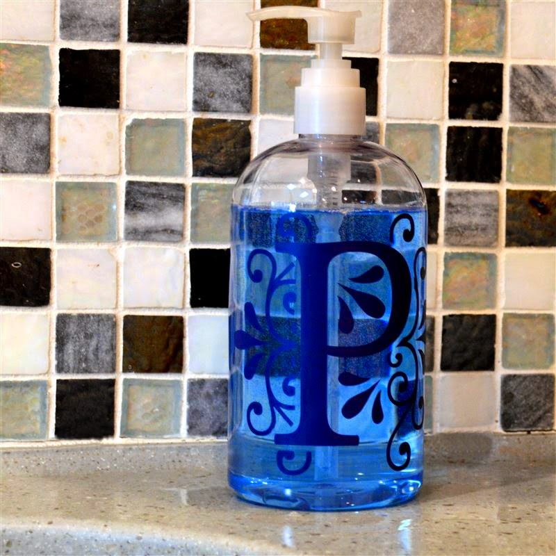 we put the larger bottle by the kitchen sink with a ocean scented blue soap i might have chosen a lighter color of vinyl to show up more distinctly but i