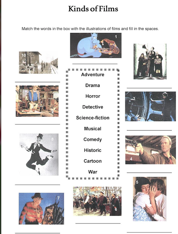 OUR ENGLISH CLASS: Types of movies