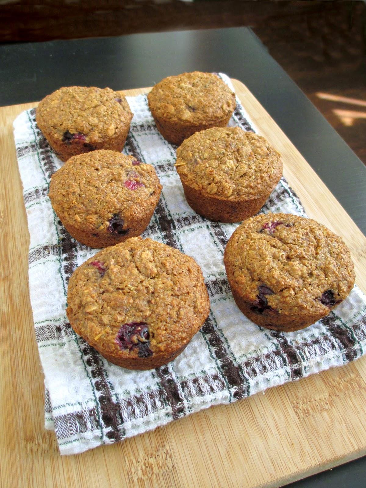 Cherry Blueberry Bran Muffins