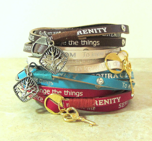 Serenity Prayer Bracelet Leather