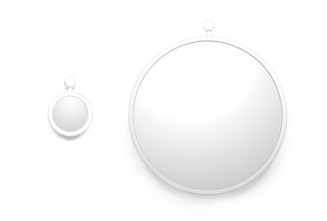 Белое большое и маленькое силиконовое зеркало для ванной комнаты