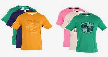 Buy 6 Pcs. (2 x Combo of 3) Fort Collins Men's T-Shirts worth Rs.1300 for Rs.1024 Only @ Myntra (Rs.171 each)