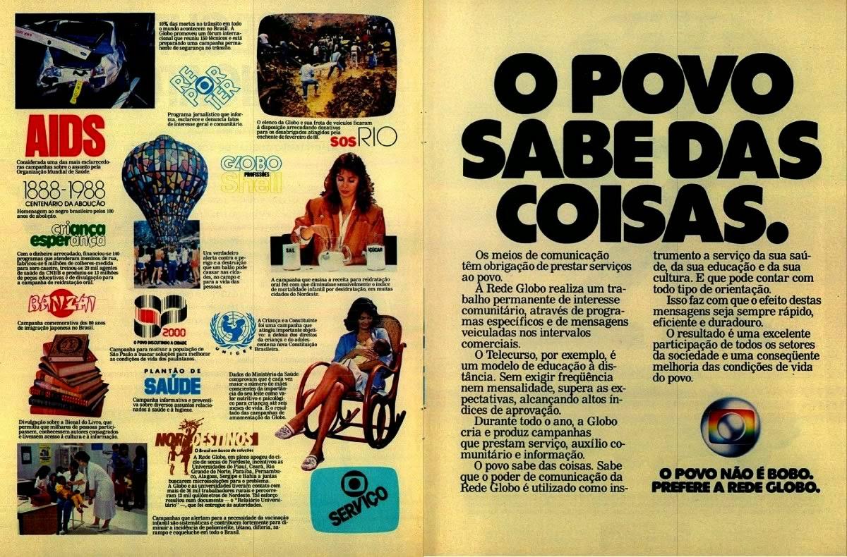 Propaganda da Rede Globo em 1988: prestação de serviços com a sociedade brasileira.