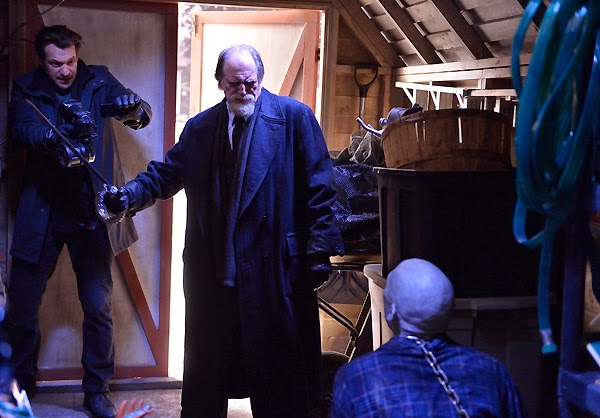 Corey Stoll and David Bradley as Dr. Ephraim Eph Goodweather and Abraham Setrakian about to kill infected Ansel Barbour in The Strain Runaways
