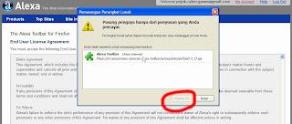 Konfirmasi Pemasangan Alexa Toolbar pada Browser, Klik Pasang