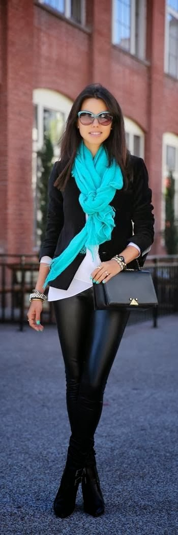 Black Coat, Waterspout Scarf With Black Leging And Boot