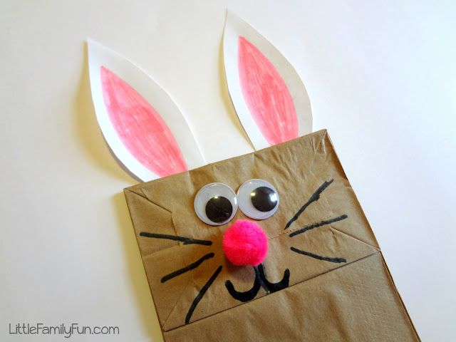 Brown bag bunny puppet for Brown paper bag crafts for preschoolers