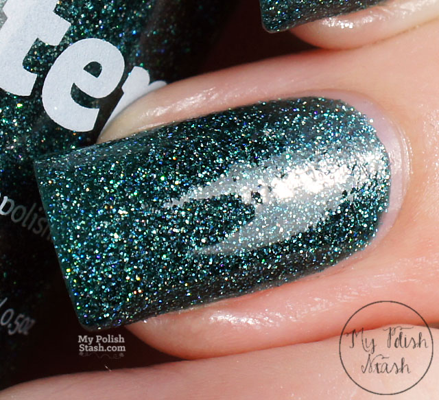 teal scattered holographic nail polish