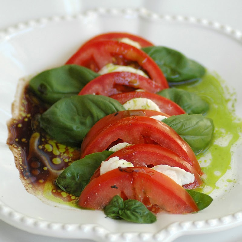 Caprese Salad with Balsamic Reduction and Basil Oil