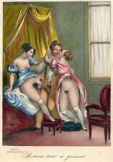 Старинный рисунок из жизни французских куртизанок