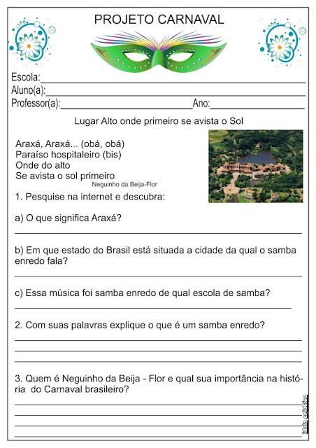 Projeto Carnaval / Atividade / Samba Enredo da Beija - Flor