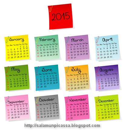 Stickers Calendar 2015 Vector