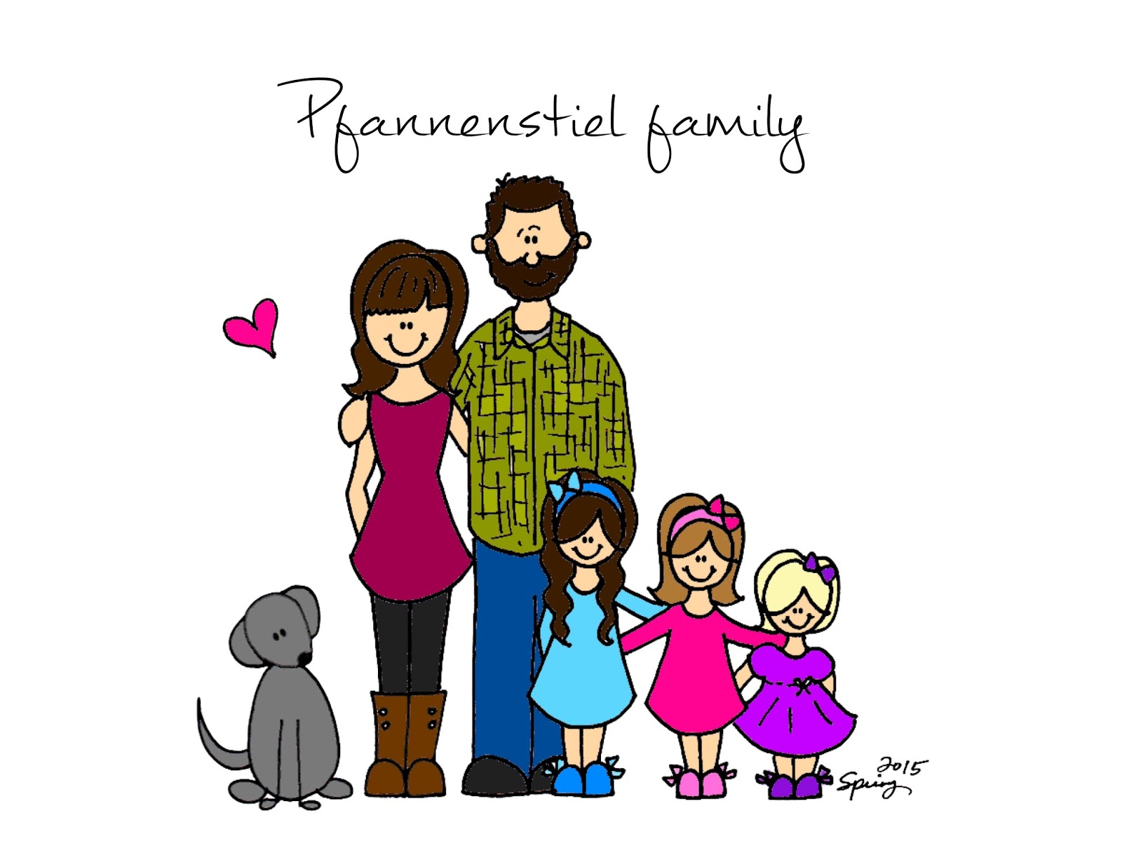 how to draw a family of 5