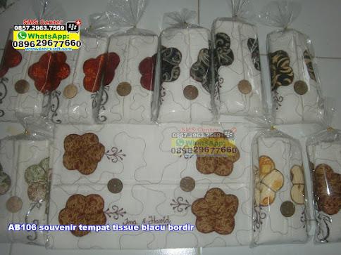 souvenir tempat tissue blacu bordir unik