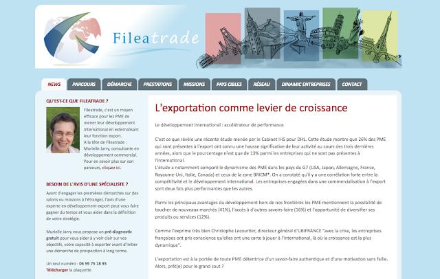Page d'accueil du site de Fileatrade