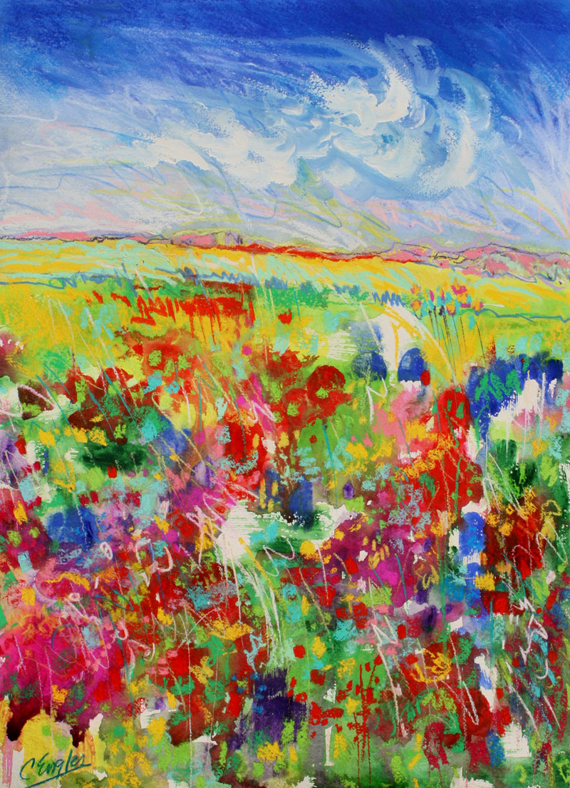 Daily painters abstract gallery bright flower field one for Bright flower painting