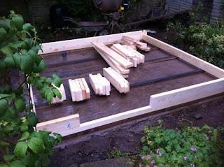 concrete base for a garden room