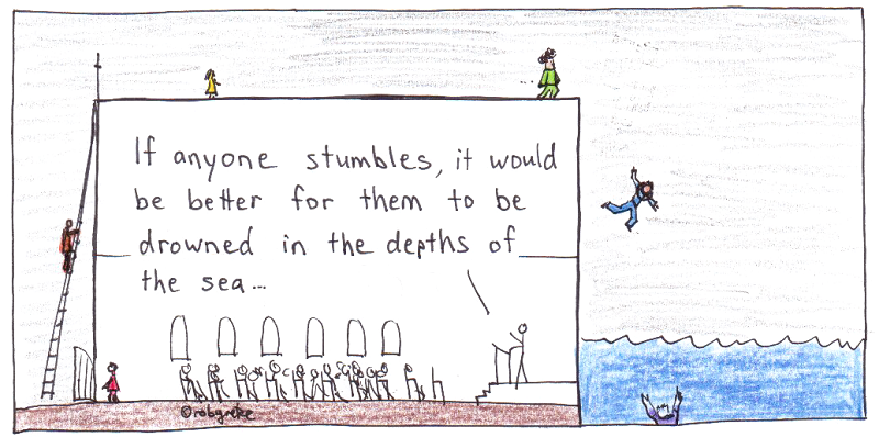 if anyone stumbles, drawing by rob g