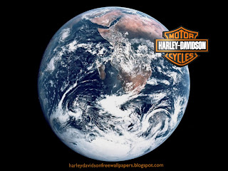 Harley Davidson free desktop wallpapers Harley Davidson bikes logo in planet earth seen from space background