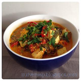 Curry met tofu en zoete aardappel