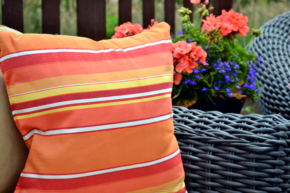 Orange striped pillow home decorators collection
