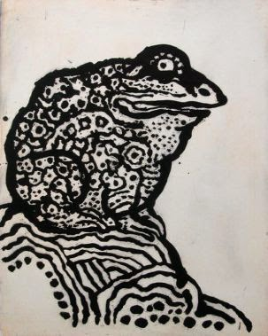 black and white illustration of a toad by Tomi Ungerer