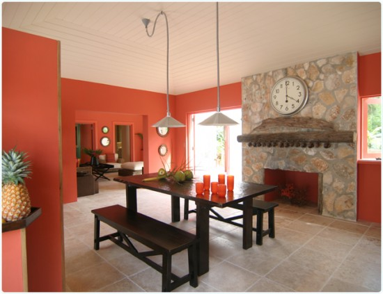 Coral Colors Kitchen Decorating Idea