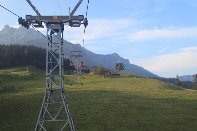 Another panoramic view with cable gondola at Mount Pilatus in Lucerne, Switzerland