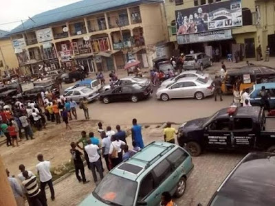 Graphic pics from armed robbery incident in Port Harcourt yesterday