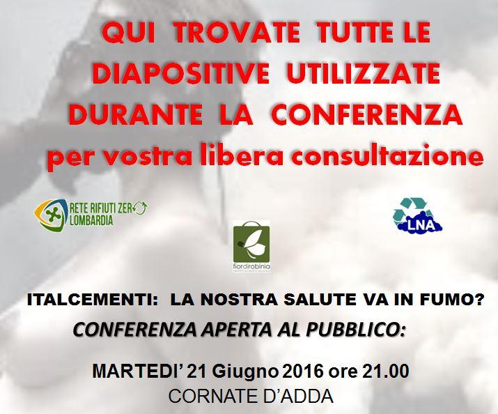 Presentazioni assemblea a Cornate d'Adda 21 Giugno 2016
