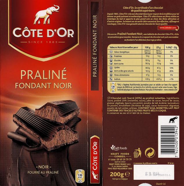 tablette de chocolat noir fourré côte d'or praliné fondant noir 2