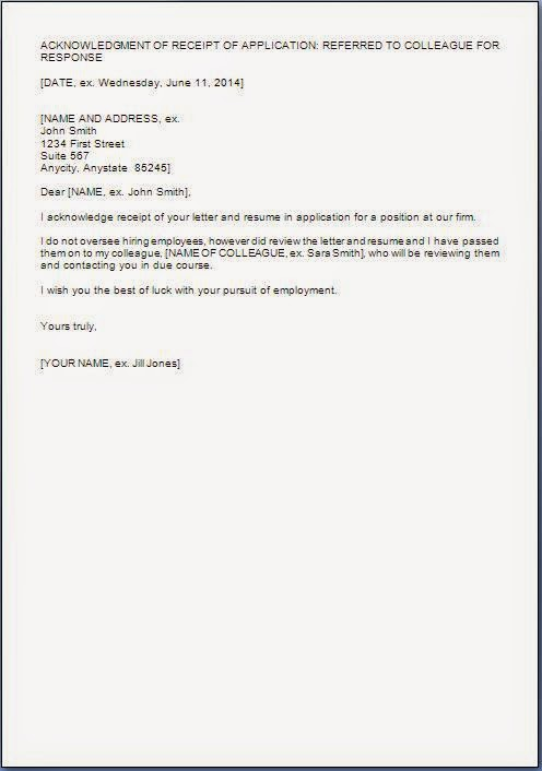 Job Application Acknowledgement Letter