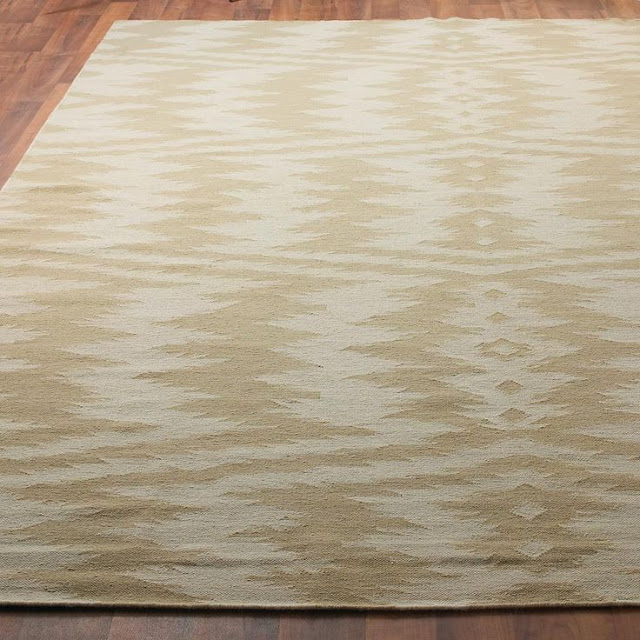 What I'm Loving Right Now: Ikat. Incorporate this trend into your home with this tan Ikat Dhurrie rug!
