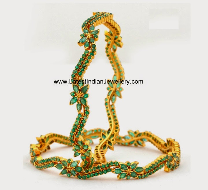 Fancy Emerald Gold Bangles Pair