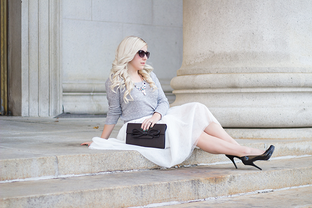 White tulle skirt with soft grey sweater & black patent pumps // Fall outfit inspiration via Pretty Little Details