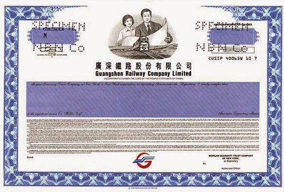 Guangshen Railway Company Limited ADR certificate