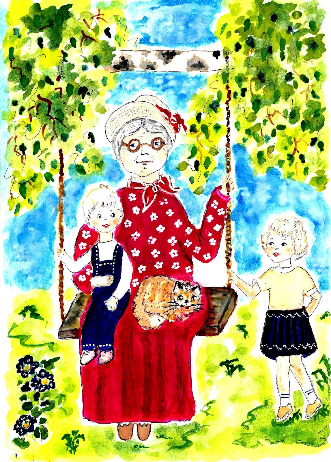 бабушка с внучкой рисунки