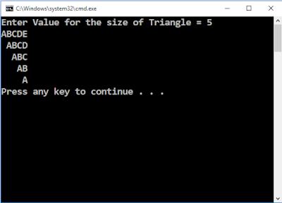 Write C++ Program to draw upside down triangle using ABCED