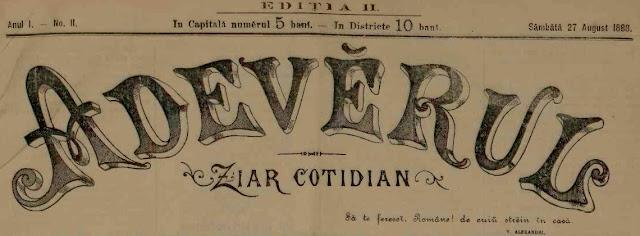 Ziarul Adevarul din 1888