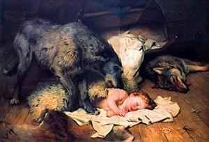 public domain image of dog protecting child