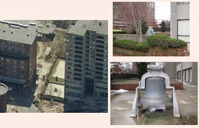 Three current views of the Baptist Church bell: aerial; street view; and close-up.