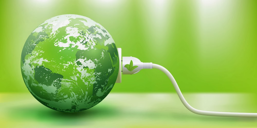 Image of: Green earth with plug in it.