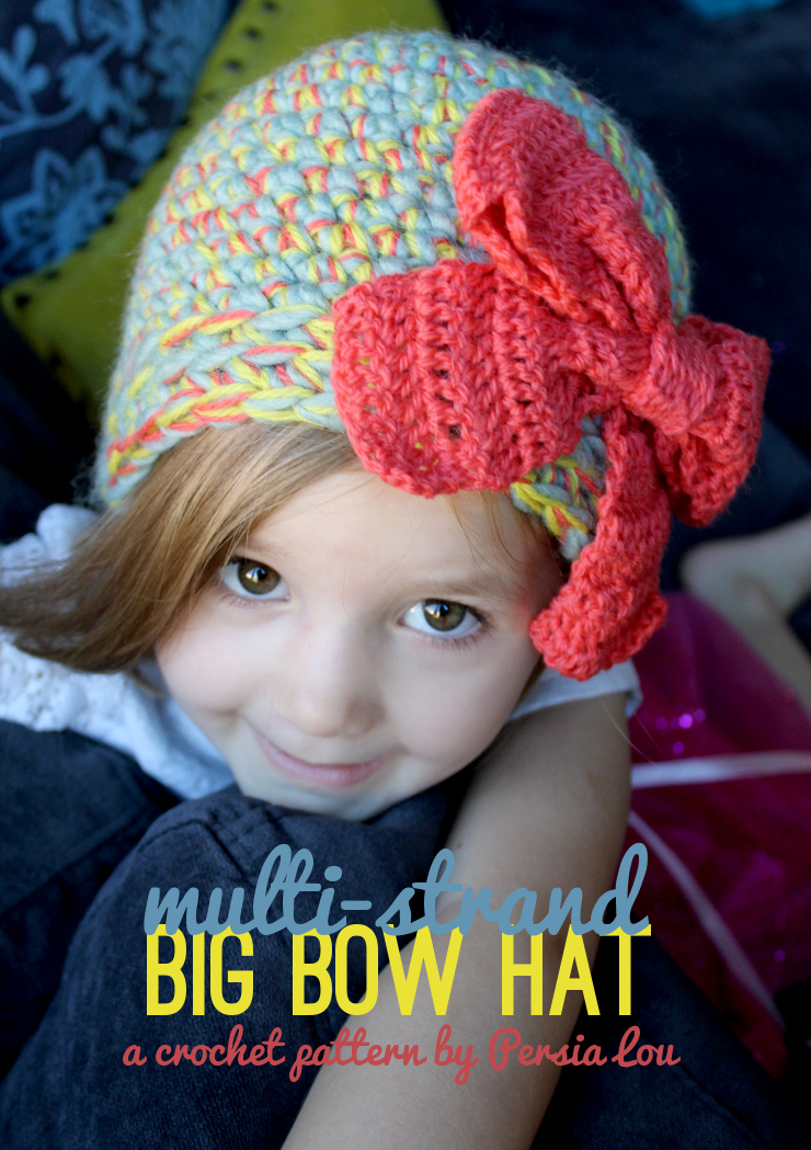 Crochet Hat Pattern With Bow : Multi-Strand Big Bow Hat: Crochet Pattern